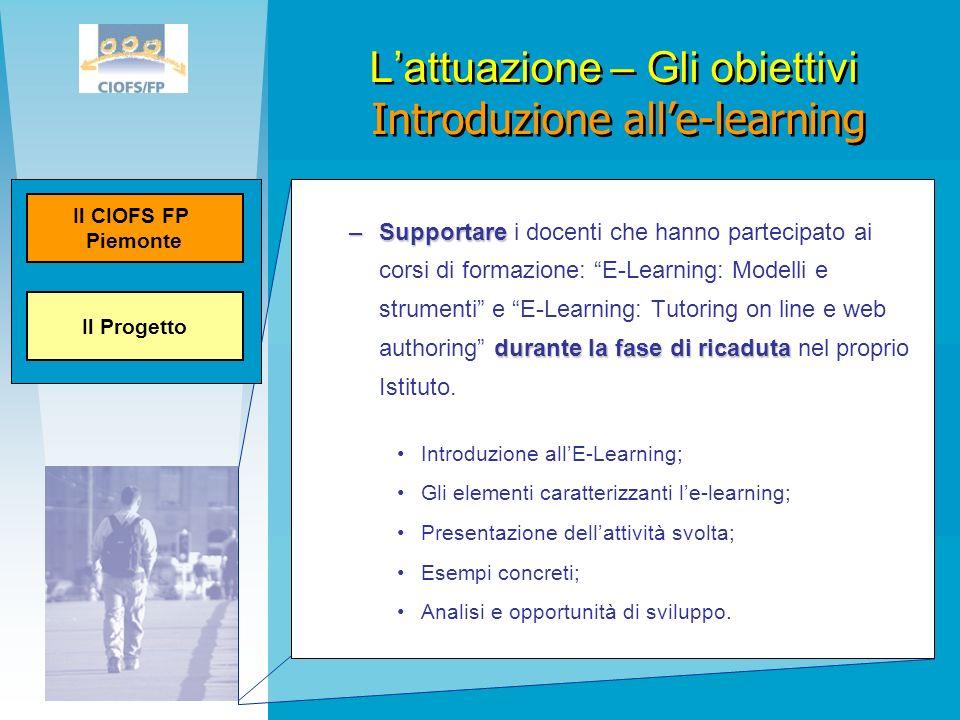 Lattuazione – Gli obiettivi Introduzione alle-learning –Supportare durante la fase di ricaduta –Supportare i docenti che hanno partecipato ai corsi di