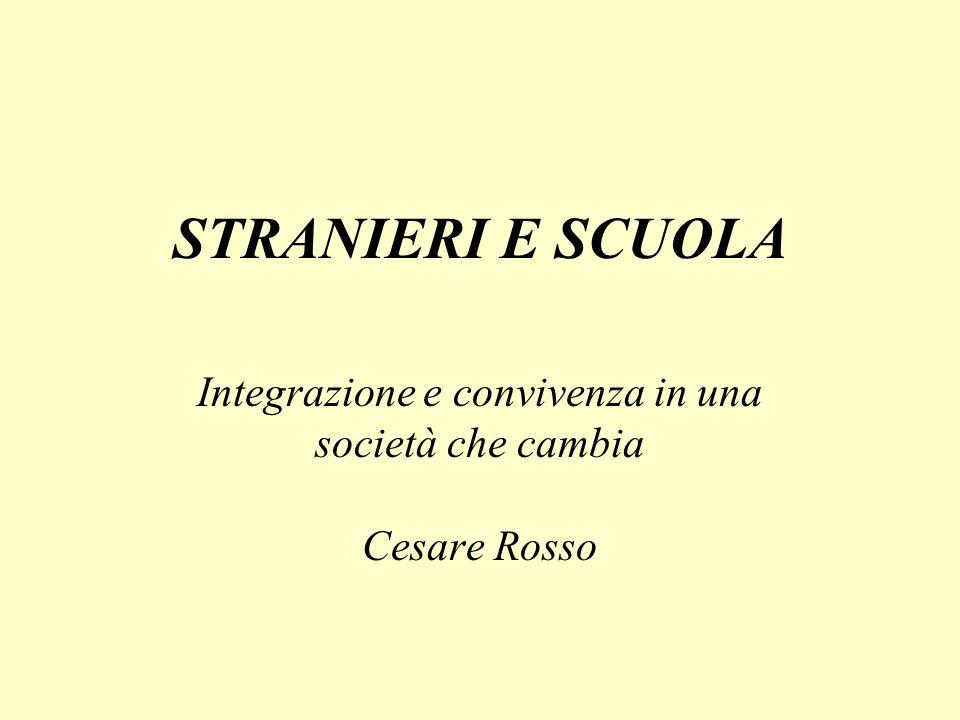 STRANIERI E SCUOLA Integrazione e convivenza in una società che cambia Cesare Rosso