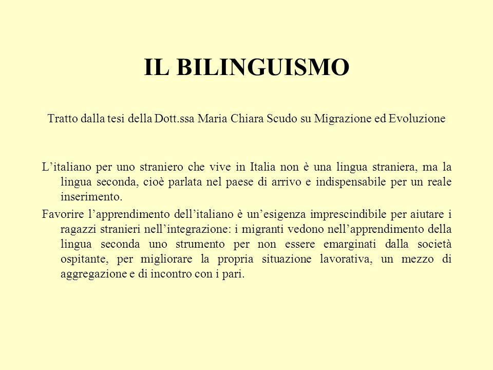 IL BILINGUISMO Tratto dalla tesi della Dott.ssa Maria Chiara Scudo su Migrazione ed Evoluzione Litaliano per uno straniero che vive in Italia non è una lingua straniera, ma la lingua seconda, cioè parlata nel paese di arrivo e indispensabile per un reale inserimento.