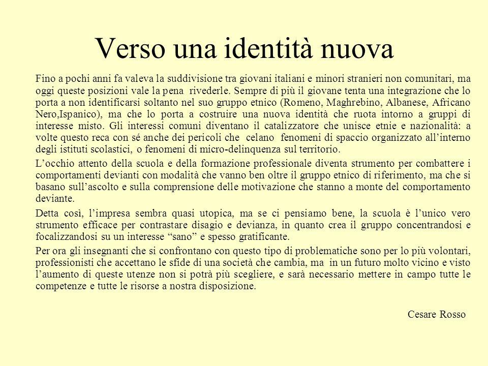 Verso una identità nuova Fino a pochi anni fa valeva la suddivisione tra giovani italiani e minori stranieri non comunitari, ma oggi queste posizioni vale la pena rivederle.