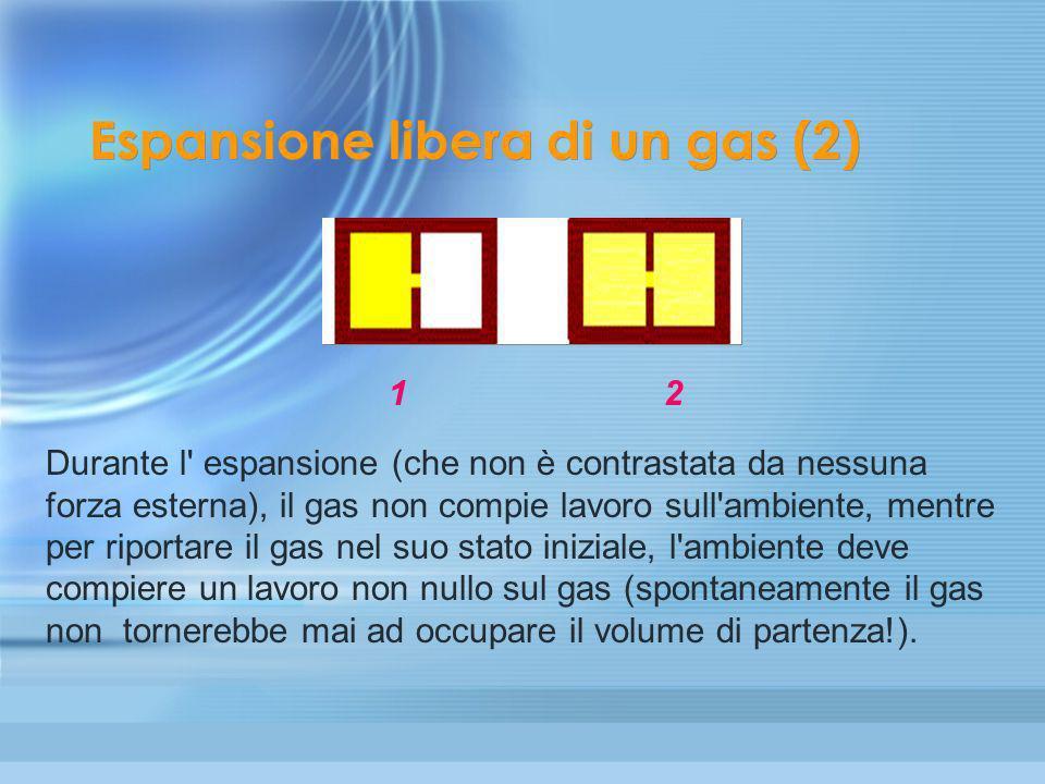 Reversibilità e irreversibilità (6) L' espansione libera di un gas è un tipico esempio di trasformazione irreversibile. Consideriamo un recipiente a p