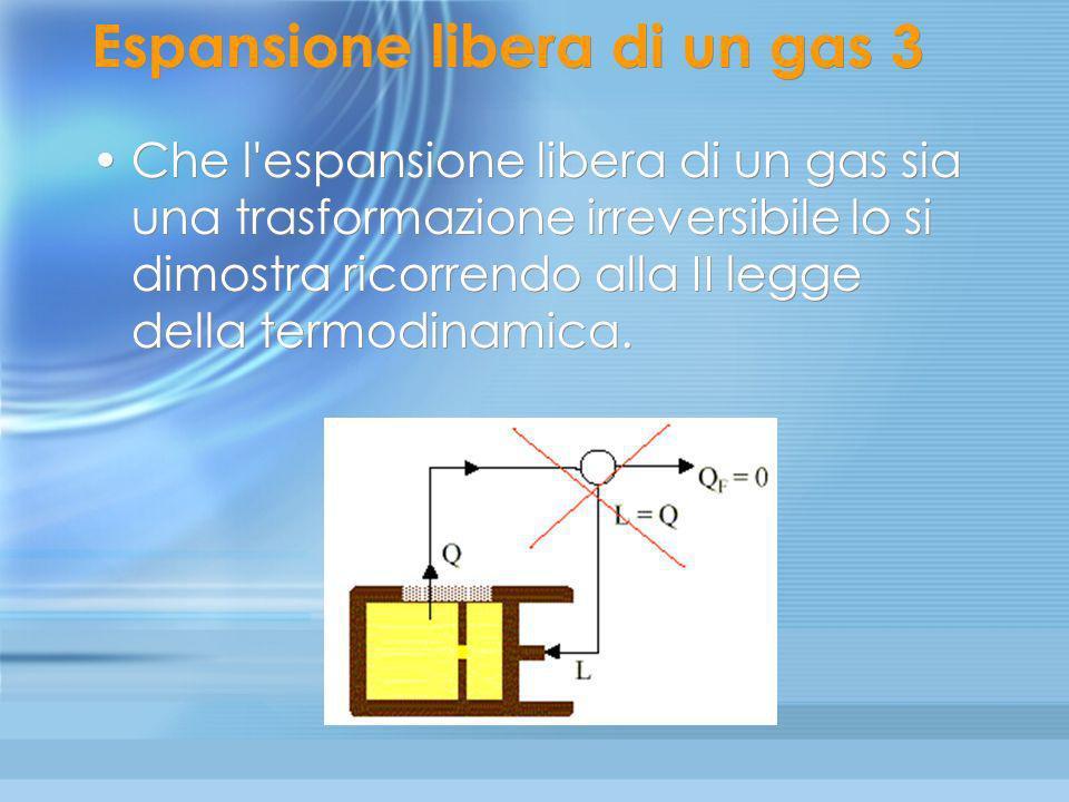 Espansione libera di un gas (2) Durante l' espansione (che non è contrastata da nessuna forza esterna), il gas non compie lavoro sull'ambiente, mentre