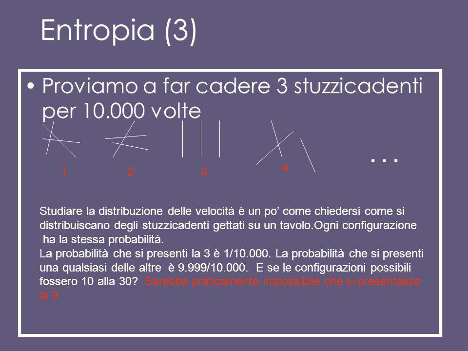 Entropia(2): come sono le velocità delle molecole? Velocità distribuite in modo casuale Velocità parallele