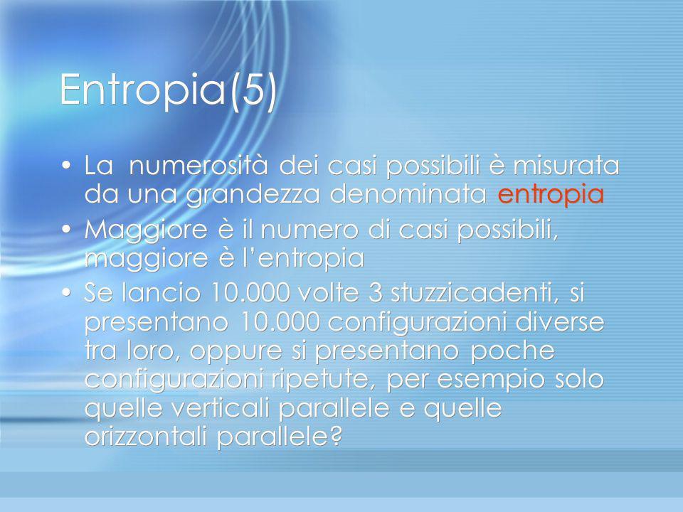 Entropia(4): distribuzione delle velocità Analogia con gli stuzzicadenti:... 12 3 4 Ogni configurazione è, a suo modo, ordinata. Ciascuna ha un suo or
