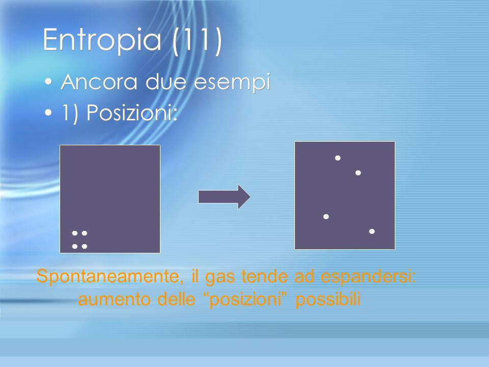 Entropia (10) Comunque la situazione peggiorerà se il volume diventerà più grande e il numero di posizioni possibili delle molecole crescerà. Allora d