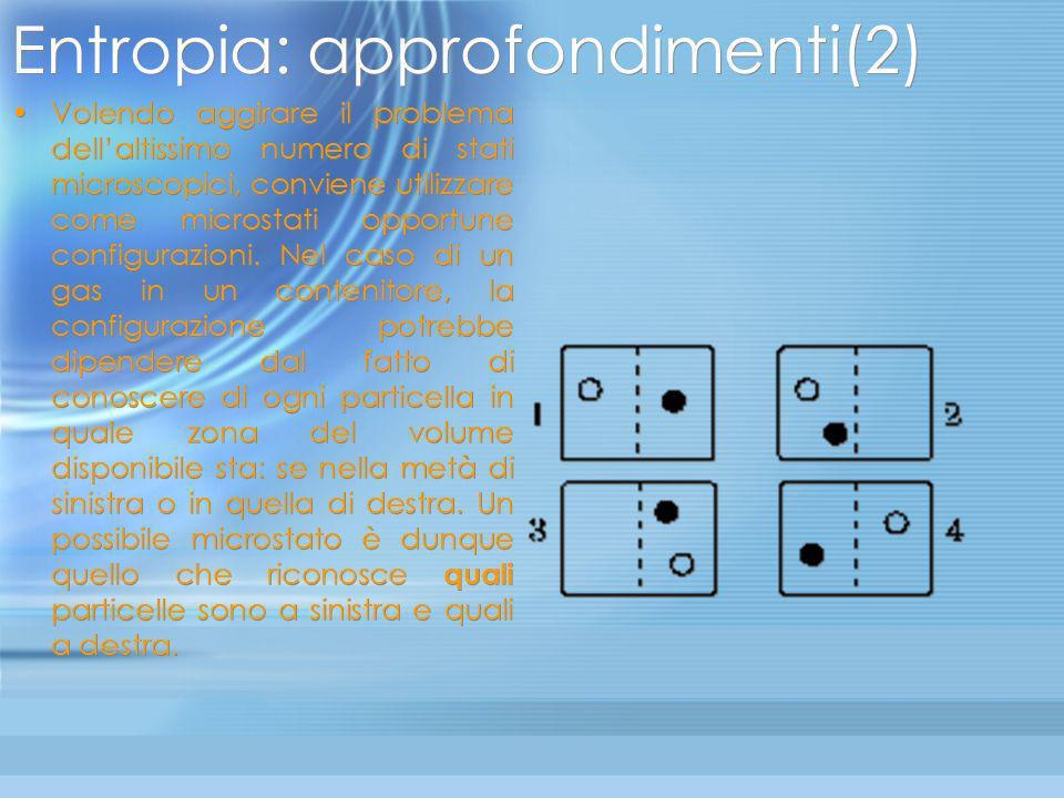 Entropia: approfondimenti(1) Analizziamo un modello semplificato per stabilire che relazione esista tra linsieme di tutte le possibili configurazioni