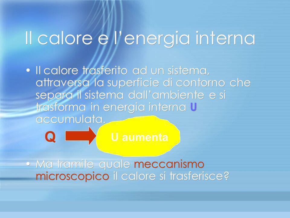 Lenergia interna Se è vero che le molecole si muovono incessantemente, esse possiedono energia cinetica E c (dovuta al movimento) ed energia potenzial