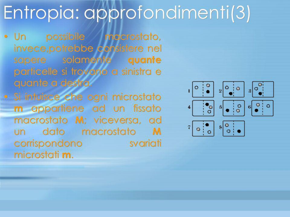 Entropia: approfondimenti(2) Volendo aggirare il problema dellaltissimo numero di stati microscopici, conviene utilizzare come microstati opportune co