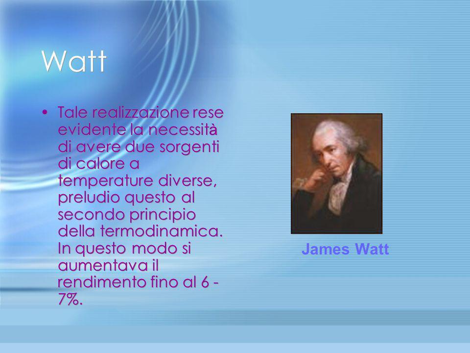 La macchina di Watt (2) Per avere una macchina a vapore vera e propria, quella cio è che dar à il via alla rivoluzione industriale si deve attendere i