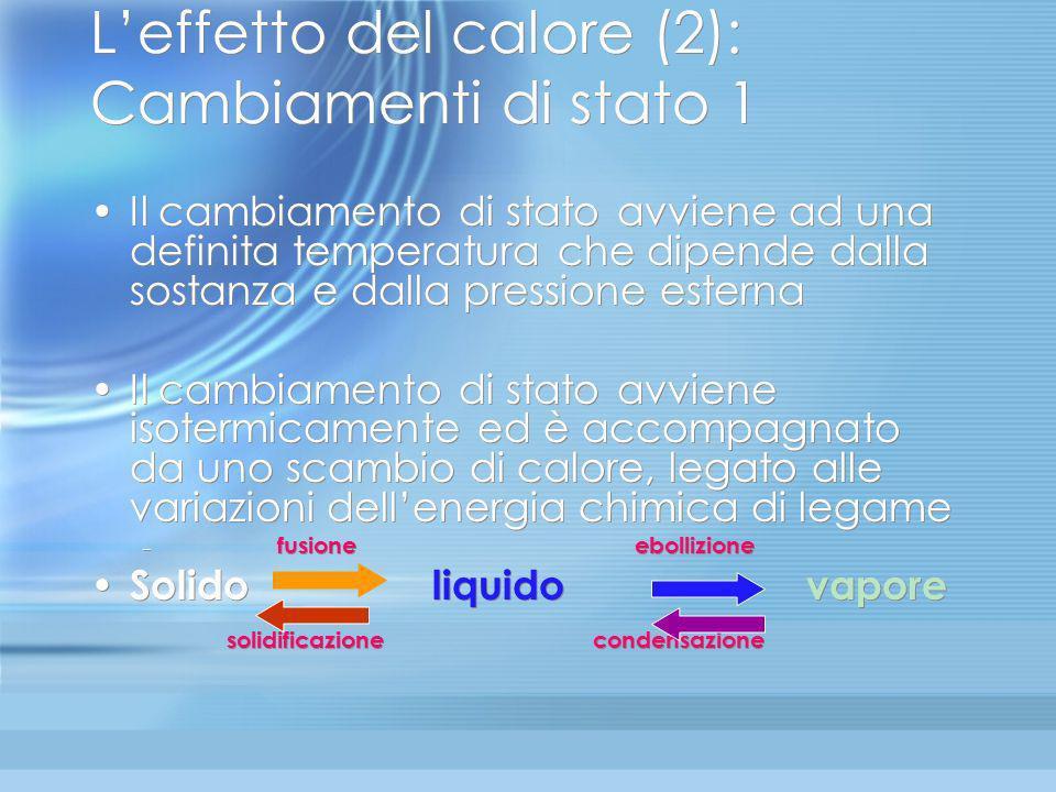 Leffetto del calore (1): dilatazione Laumento di temperatura produce aumento di agitazione termica delle molecole. Aumenta lo spazio occupato dal corp