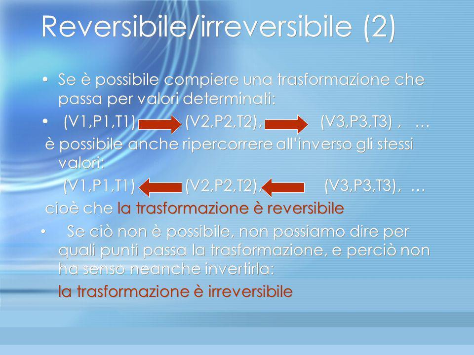 Reversibile/Irreversibile (1) Trasformazione reversibile Trasformazione irreversibile V V P °°°°°°°°°° Q U A L E P? Per ogni valore di V 1 solo valore