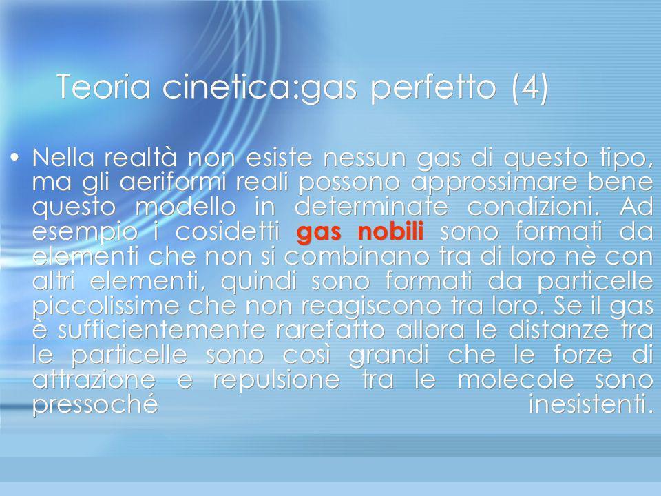 Teoria cinetica: gas perfetto(3) 1) Le forze di interazione fra le molecole si considerano nulle, quindi fra un urto ed il successivo il moto è rettil