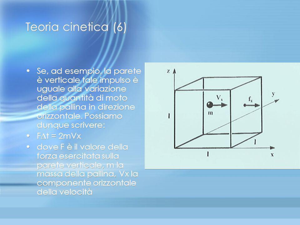 Teoria cinetica dei gas (5) Studiando dal punto di vista meccanico il modello di gas perfetto monoatomico è possibile trovare le relazioni tra i param
