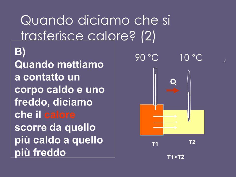 Quando diciamo che si trasferisce calore? (1) A)Quando un cubetto di ghiaccio si scioglie diciamo che passa calore dallambiente, più caldo, al cubetto
