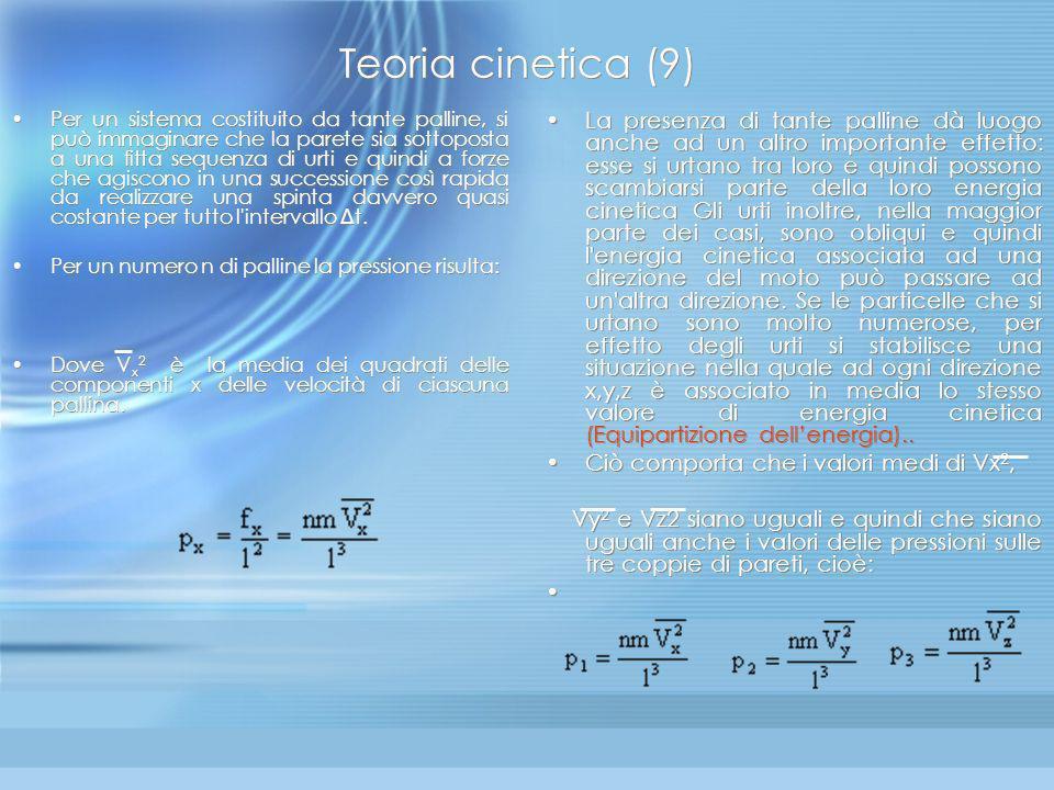 Teoria cinetica (8) Se l è la distanza tra due pareti parallele, risulta t = 2l/Vx e il valore della forza media è dunque: f x= m (Vx) 2 / l Da notare