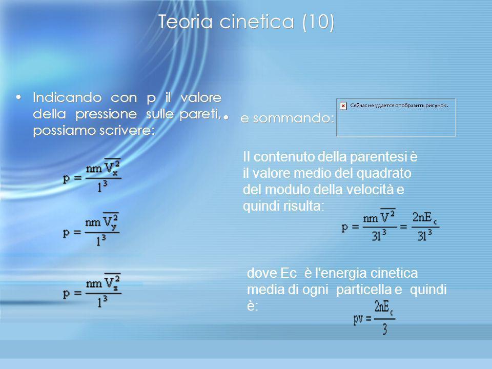 Teoria cinetica (9) Per un sistema costituito da tante palline, si può immaginare che la parete sia sottoposta a una fitta sequenza di urti e quindi a