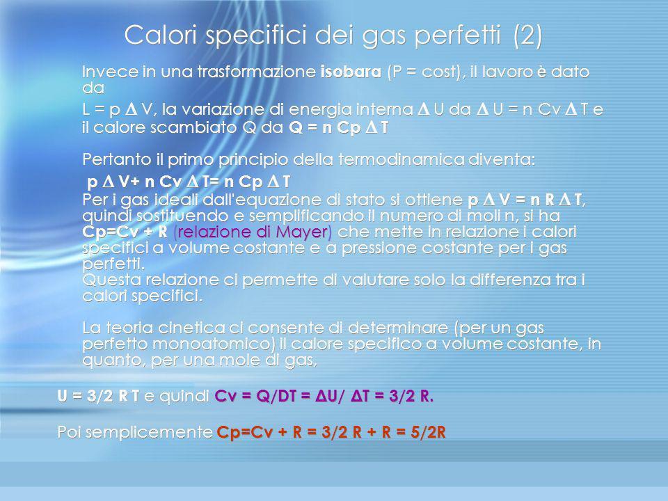 Applicazioni I principio: Calori specifici dei gas perfetti (1) Facciamo ricorso ad una trasformazione isocora (V=cost ) per determinare la variazione