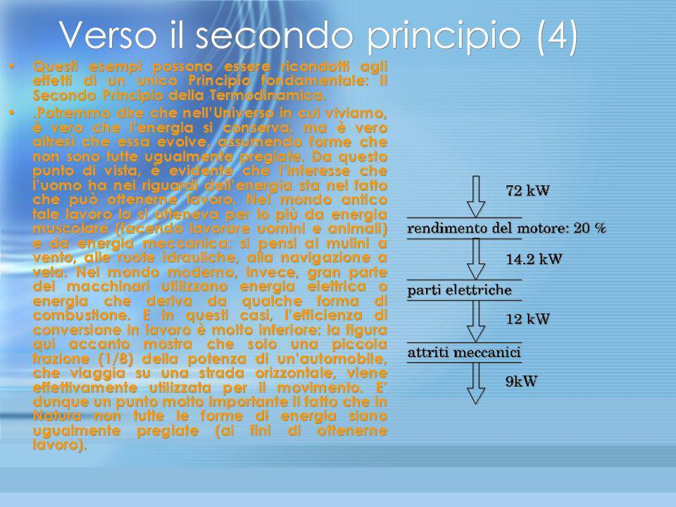Verso il secondo principio (3) E esperienza comune il fatto che un gas, lasciato libero di espandersi, tenda ad occupare tutto il volume che gli è acc