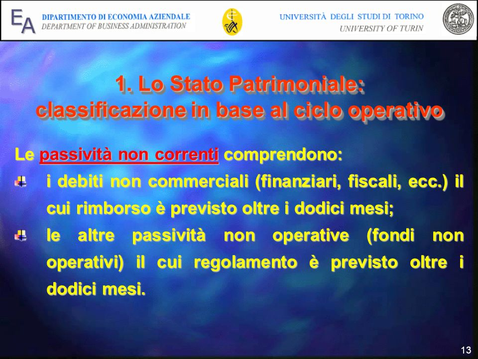 13 1. Lo Stato Patrimoniale: classificazione in base al ciclo operativo Le passività non correnti comprendono: i debiti non commerciali (finanziari, f