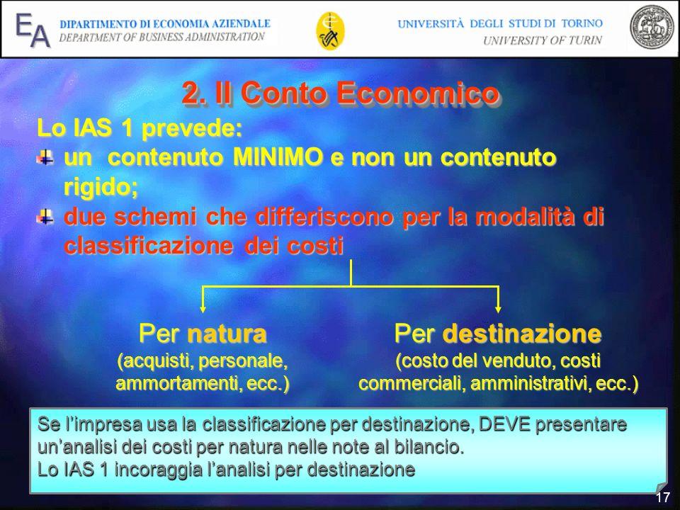 17 2. Il Conto Economico Lo IAS 1 prevede: un contenuto MINIMO e non un contenuto rigido; due schemi che differiscono per la modalità di classificazio