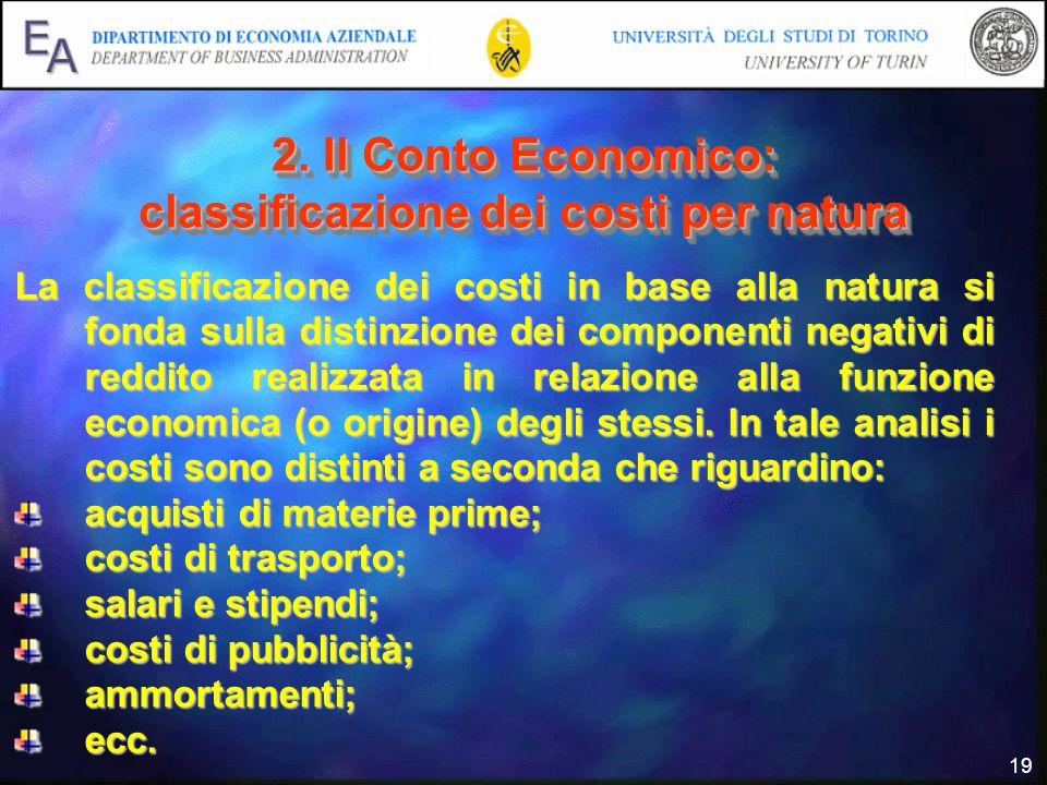 19 2. Il Conto Economico: classificazione dei costi per natura La classificazione dei costi in base alla natura si fonda sulla distinzione dei compone