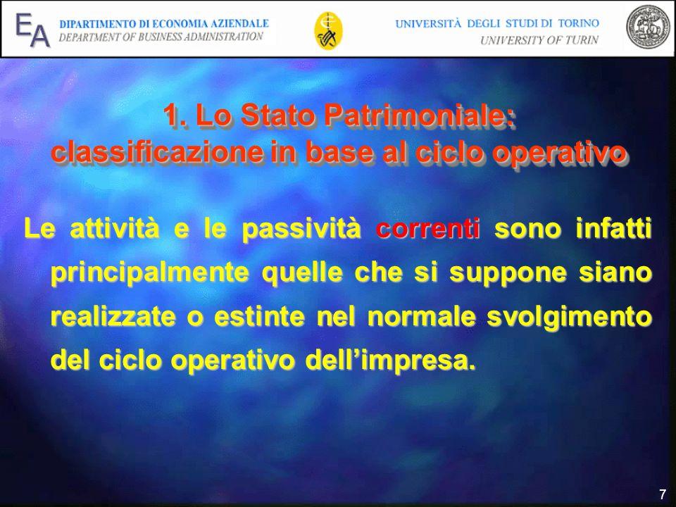 7 1. Lo Stato Patrimoniale: classificazione in base al ciclo operativo Le attività e le passività correnti sono infatti principalmente quelle che si s
