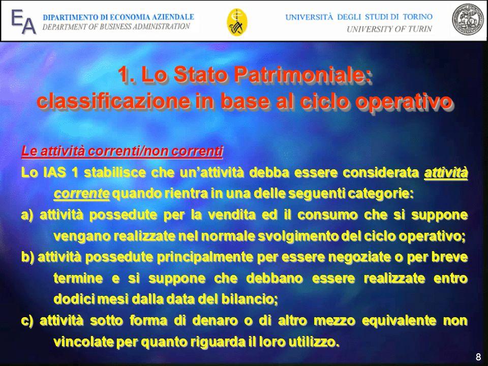8 1. Lo Stato Patrimoniale: classificazione in base al ciclo operativo Le attività correnti/non correnti Lo IAS 1 stabilisce che unattività debba esse