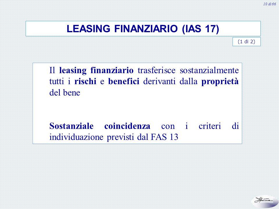 10 di 66 Il leasing finanziario trasferisce sostanzialmente tutti i rischi e benefici derivanti dalla proprietà del bene Sostanziale coincidenza con i