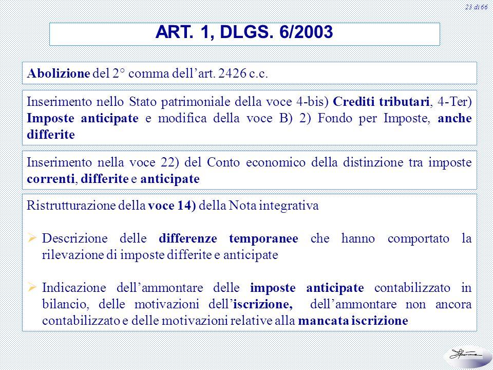 23 di 66 Ristrutturazione della voce 14) della Nota integrativa Descrizione delle differenze temporanee che hanno comportato la rilevazione di imposte