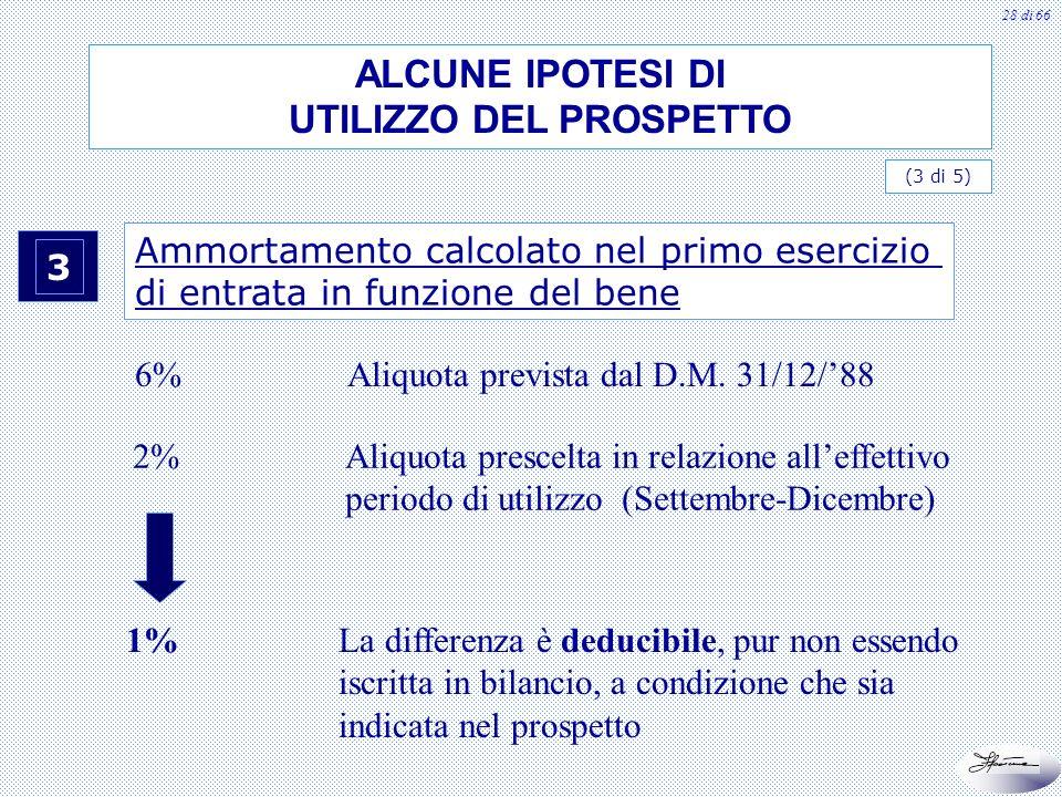 28 di 66 3 Ammortamento calcolato nel primo esercizio di entrata in funzione del bene 6%Aliquota prevista dal D.M. 31/12/88 2%Aliquota prescelta in re