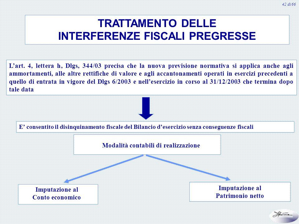 42 di 66 TRATTAMENTO DELLE INTERFERENZE FISCALI PREGRESSE Lart. 4, lettera h, Dlgs, 344/03 precisa che la nuova previsione normativa si applica anche