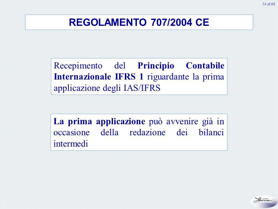 54 di 66 REGOLAMENTO 707/2004 CE Recepimento del Principio Contabile Internazionale IFRS 1 riguardante la prima applicazione degli IAS/IFRS La prima a