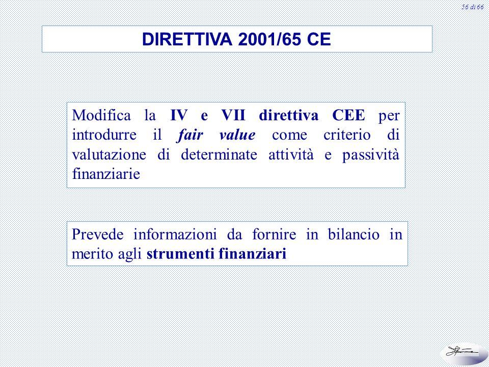 56 di 66 DIRETTIVA 2001/65 CE Modifica la IV e VII direttiva CEE per introdurre il fair value come criterio di valutazione di determinate attività e p