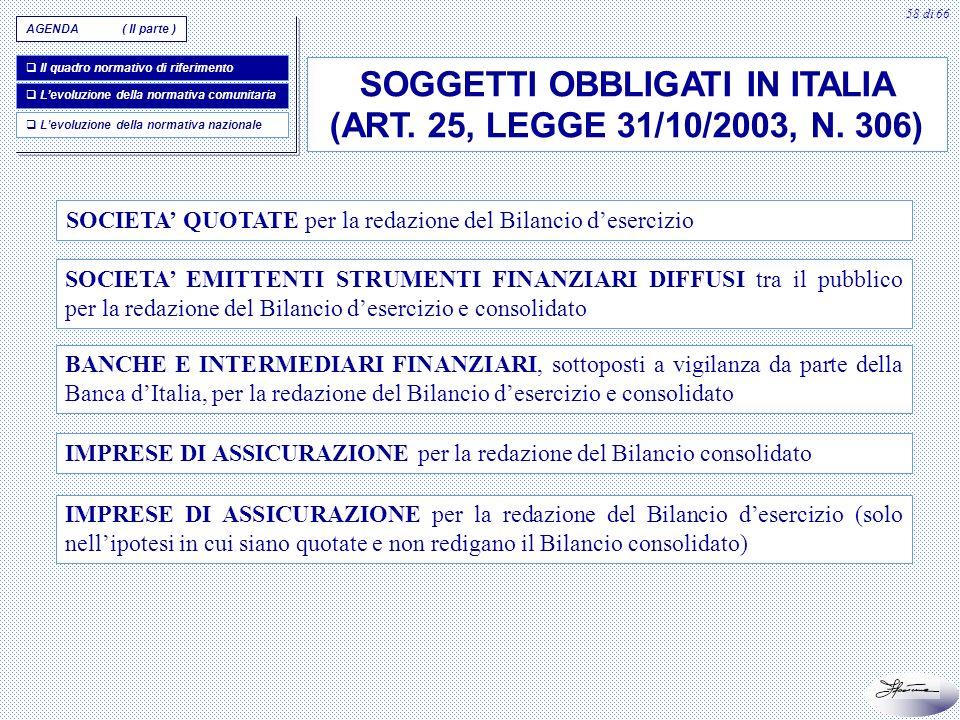 58 di 66 SOGGETTI OBBLIGATI IN ITALIA (ART. 25, LEGGE 31/10/2003, N. 306) SOCIETA QUOTATE per la redazione del Bilancio desercizio SOCIETA EMITTENTI S