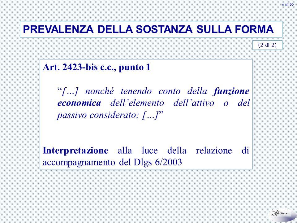 8 di 66 Art. 2423-bis c.c., punto 1 […] nonché tenendo conto della funzione economica dellelemento dellattivo o del passivo considerato; […] Interpret