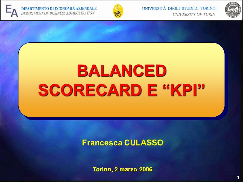 1 BALANCED SCORECARD E KPI Francesca CULASSO Torino, 2 marzo 2006