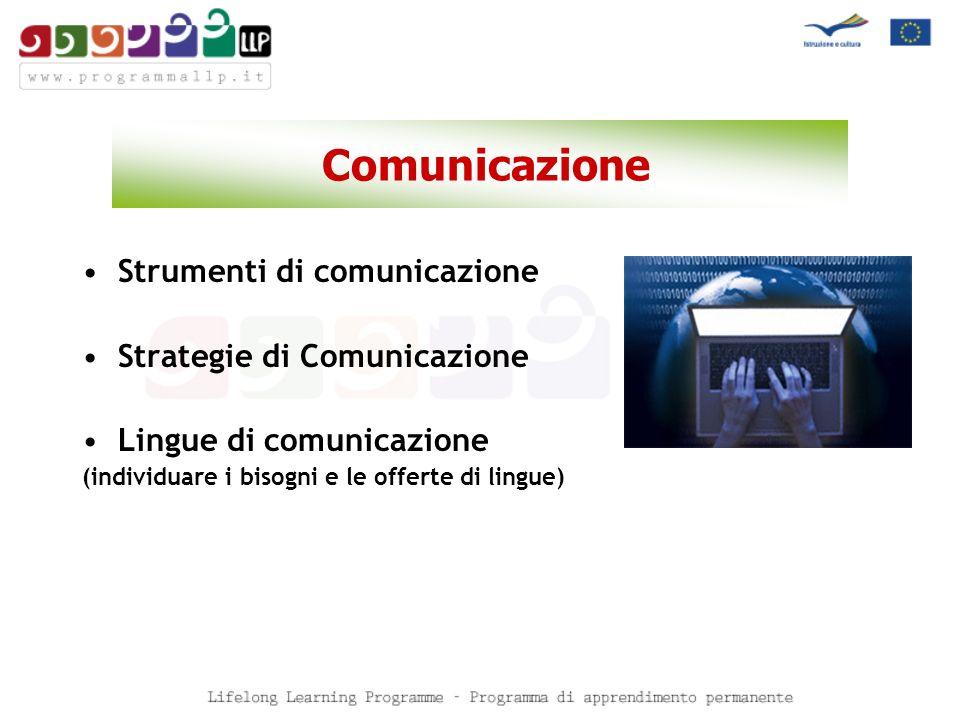 Comunicazione Strumenti di comunicazione Strategie di Comunicazione Lingue di comunicazione (individuare i bisogni e le offerte di lingue)