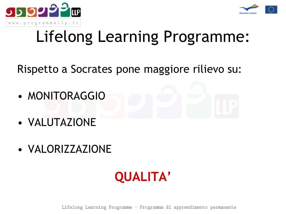 Lifelong Learning Programme: Rispetto a Socrates pone maggiore rilievo su: MONITORAGGIO VALUTAZIONE VALORIZZAZIONE QUALITA