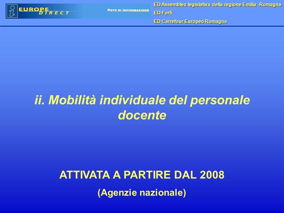 ED Assemblea legislativa della regione Emilia -Romagna ED Forlì ED Carrefour Europeo Romagna ii. Mobilità individuale del personale docente ATTIVATA A