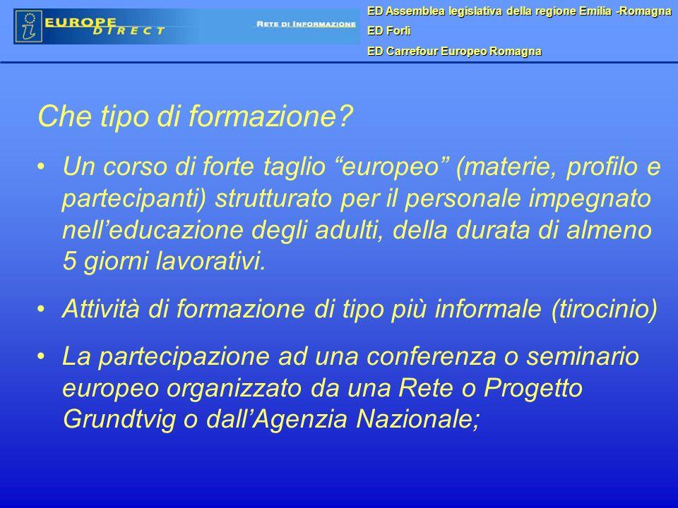 ED Assemblea legislativa della regione Emilia -Romagna ED Forlì ED Carrefour Europeo Romagna Che tipo di formazione.