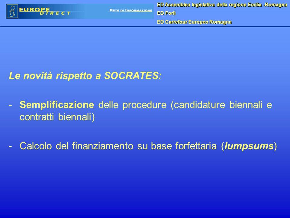 ED Assemblea legislativa della regione Emilia -Romagna ED Forlì ED Carrefour Europeo Romagna Le novità rispetto a SOCRATES: - -Semplificazione delle procedure (candidature biennali e contratti biennali) - -Calcolo del finanziamento su base forfettaria (lumpsums)