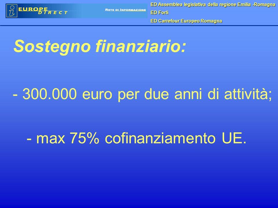 ED Assemblea legislativa della regione Emilia -Romagna ED Forlì ED Carrefour Europeo Romagna Sostegno finanziario: - 300.000 euro per due anni di attività; - max 75% cofinanziamento UE.