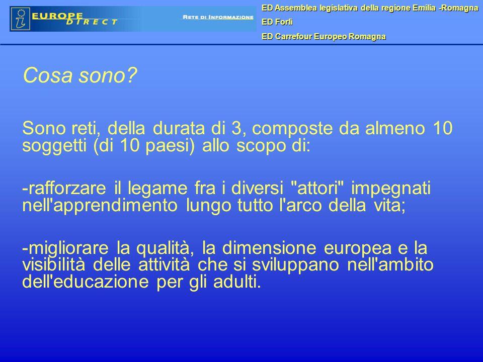 ED Assemblea legislativa della regione Emilia -Romagna ED Forlì ED Carrefour Europeo Romagna Cosa sono? Sono reti, della durata di 3, composte da alme