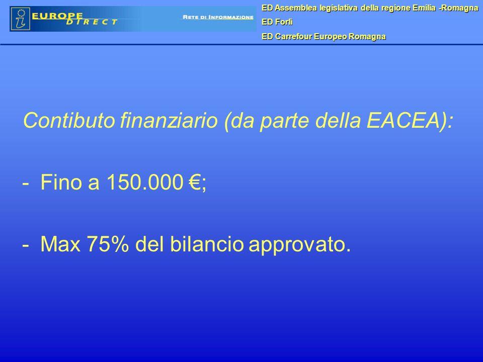 Contibuto finanziario (da parte della EACEA): -Fino a 150.000 ; -Max 75% del bilancio approvato.