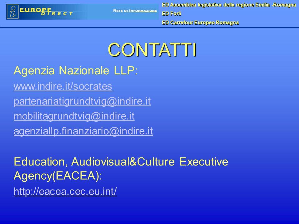 ED Assemblea legislativa della regione Emilia -Romagna ED Forlì ED Carrefour Europeo Romagna CONTATTI Agenzia Nazionale LLP: www.indire.it/socrates partenariatigrundtvig@indire.it mobilitagrundtvig@indire.it agenziallp.finanziario@indire.it Education, Audiovisual&Culture Executive Agency(EACEA): http://eacea.cec.eu.int/