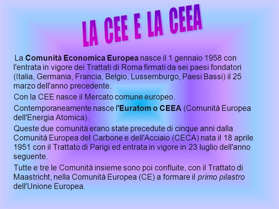 Nel 1993, con il trattato di Maastricht, al posto della CEE, divenuta nel frattempo CE (comunità europea), nasce l Unione Europea.