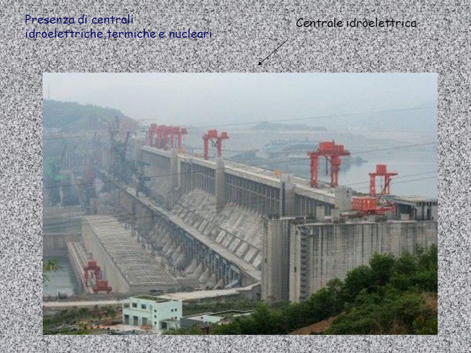 Presenza di centrali idroelettriche,termiche e nucleari Centrale idroelettrica