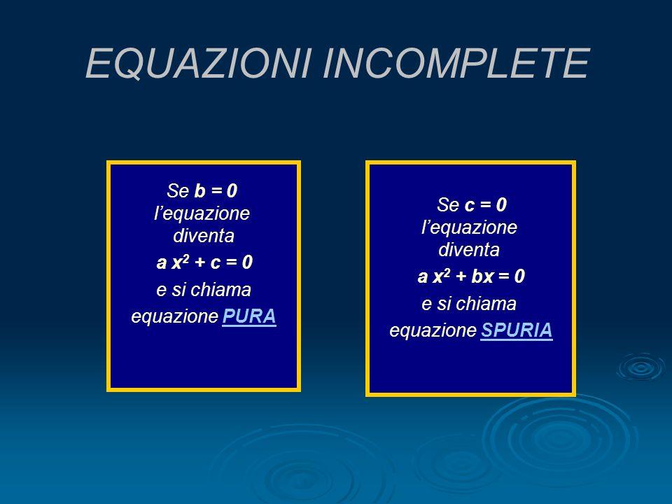 EQUAZIONI INCOMPLETE Se b = 0 lequazione diventa a x 2 + c = 0 e si chiama equazione PURAPURA Se c = 0 lequazione diventa a x 2 + bx = 0 e si chiama e