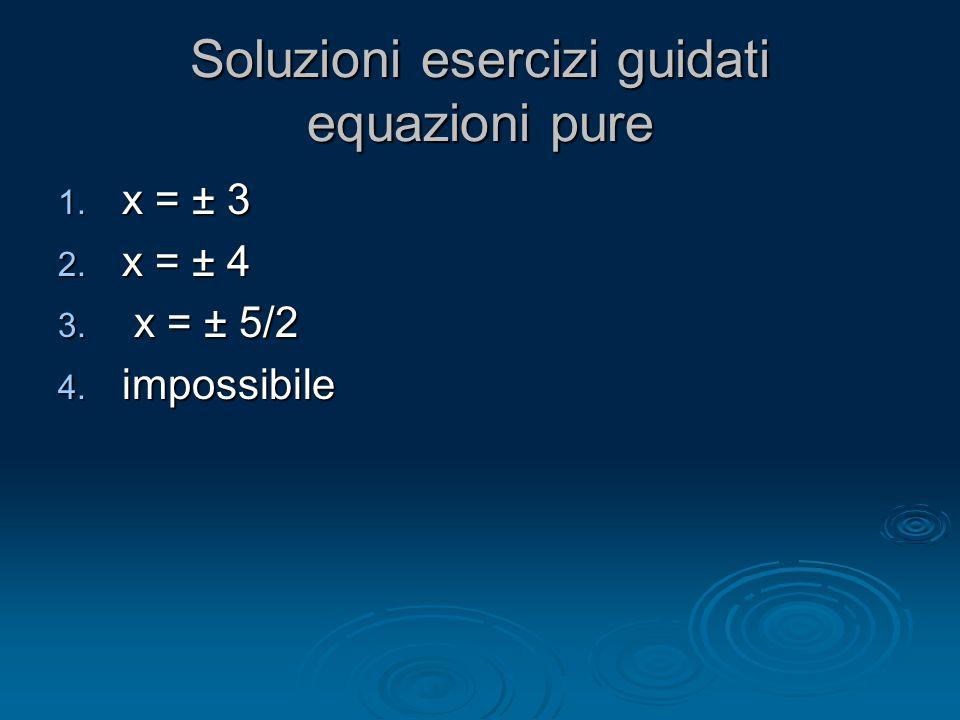 Soluzioni esercizi guidati equazioni pure 1. x = ± 3 2. x = ± 4 3. x = ± 5/2 4. impossibile