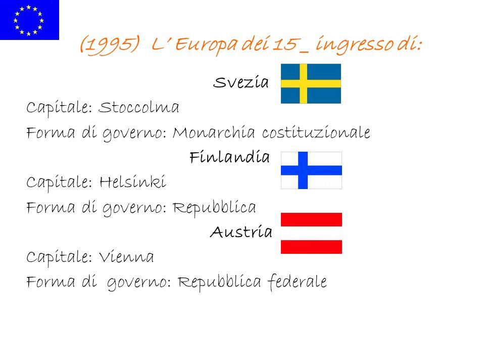 (1995) L Europa dei 15 _ ingresso di: Svezia Capitale: Stoccolma Forma di governo: Monarchia costituzionale Finlandia Capitale: Helsinki Forma di gove